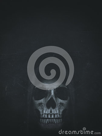 Free Human Skull In Hood On Dark Background. Halloween Banner Stock Photography - 98448702