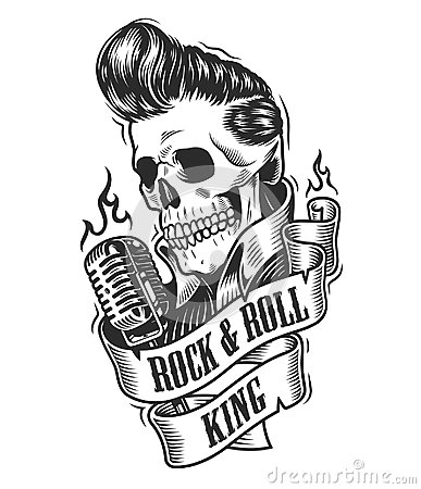 Free Human Skull In Rock And Roll. Stock Photo - 117288180
