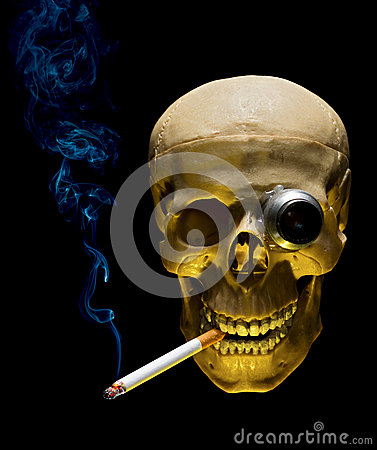 Human skull with monocle smoking cigarette