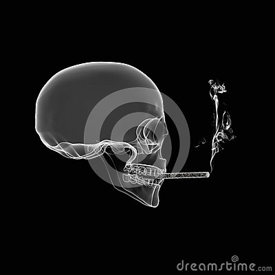 Human Skull smoking cigarette