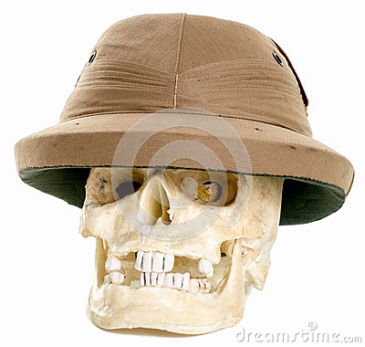 Human Skull Wearing a Pith Adventurer helmet