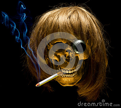 Human skull in wig with monocle smoking cigarette