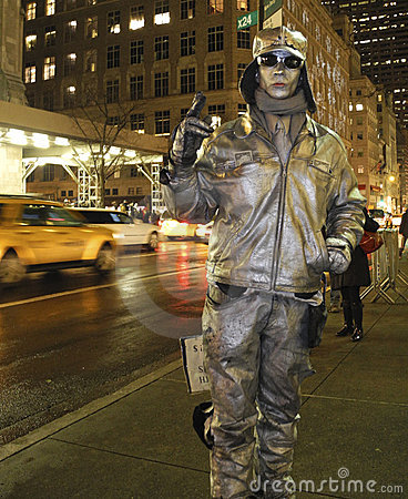Human Statue: Man Painted Silver NYC Editorial Photo