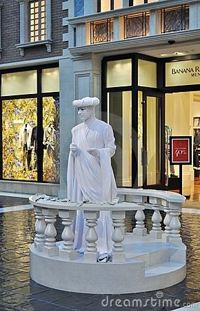 Human Statue in the Venetian Casino Editorial Photography