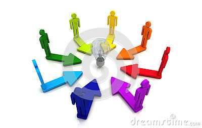 Human teamwork direction concept light bulb link colorful white background