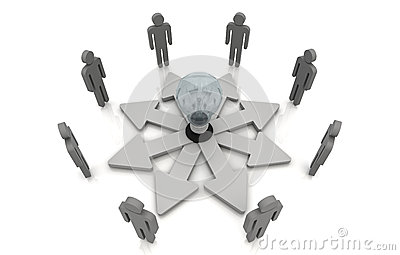 Human teamwork direction concept light bulb link Grey