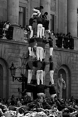 Human towers or Castel human- Barcelona Editorial Stock Image