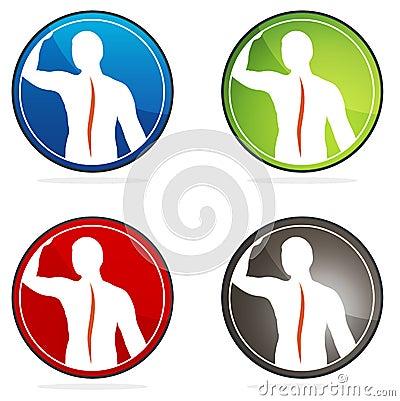 Human vertebral column health icons
