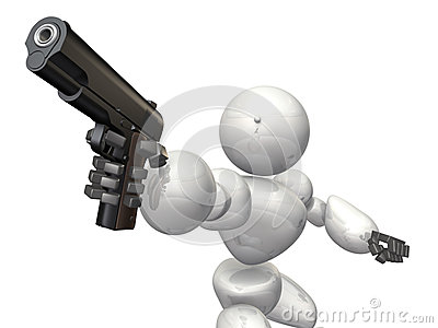 A humanoid is firing the gun.
