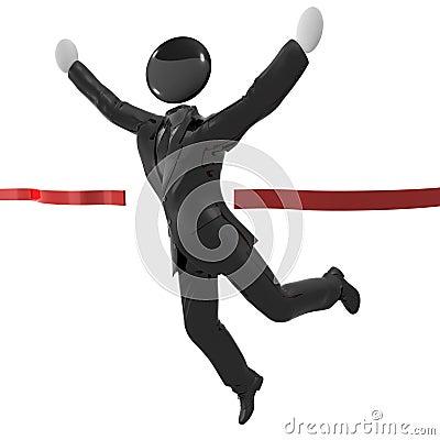 Humanoid icon in tuxedo reaching finish line