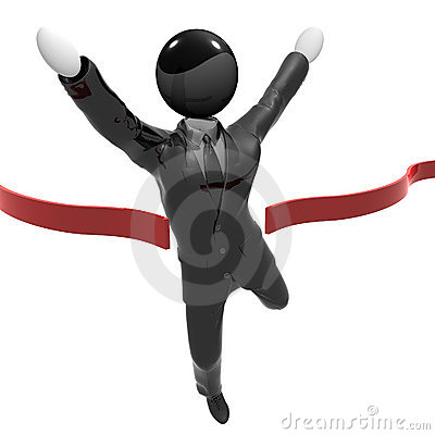 Humanoid icon in tuxedo reaching finish line