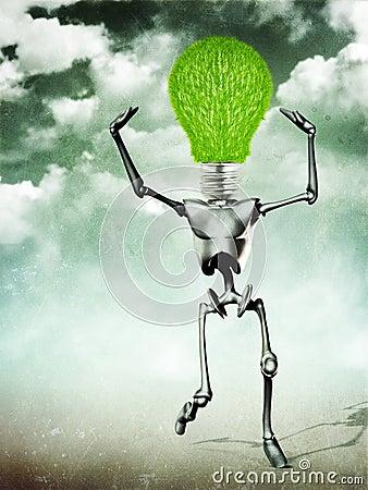 Humanoid with light bulb head