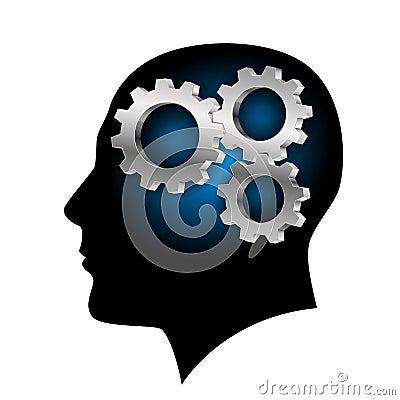Humans brain with gearwheel inside