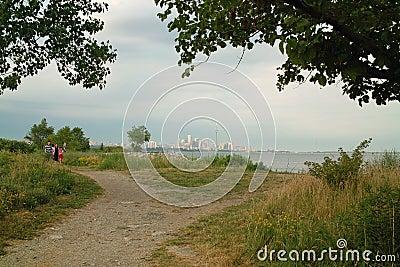 Humber Bay Beach view of Toronto Ontario Canada Editorial Stock Photo