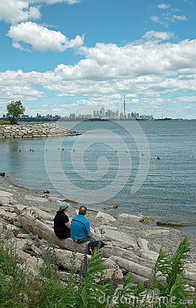 Humber Bay Beach view of Toronto Ontario Canada Editorial Image