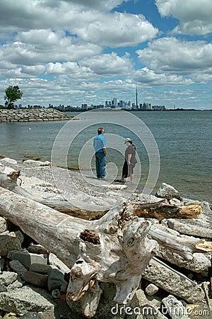 Humber Bay Beach view of Toronto Ontario Canada Editorial Photo