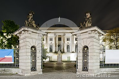 Humboldt university in Berlin at night