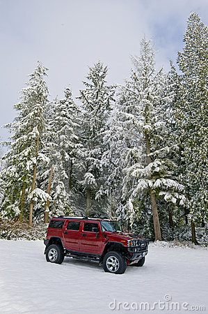 Free Hummer H2 In The Snow Stock Images - 4203474