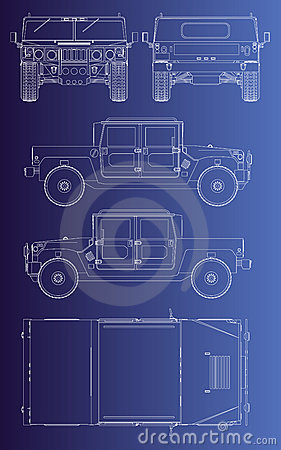 Hummer wehicle isolated outline