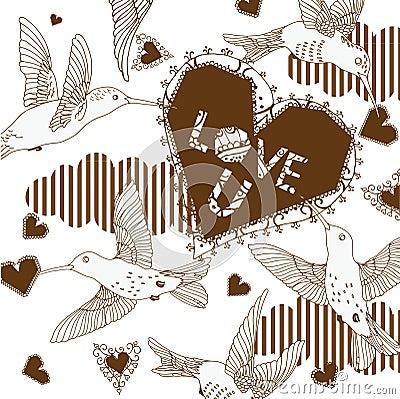 Hummingbirds and hearts