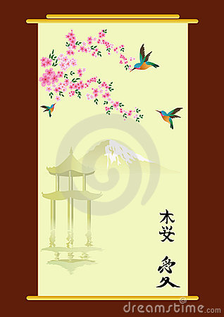 Hummingbirds and oriental cherry