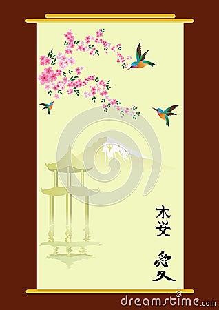 Hummingbirds and oriental cherry