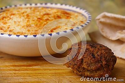 Hummus dip with falafel