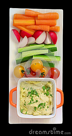 Hummus and raw vegetables