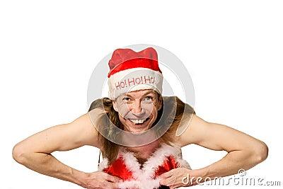Humor christmas man in bikini