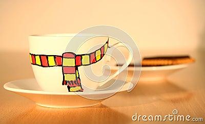 Humor del invierno en taza de café