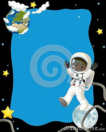 Humor feliz e engraçado da viagem do espaço - - ilustração para as crianças