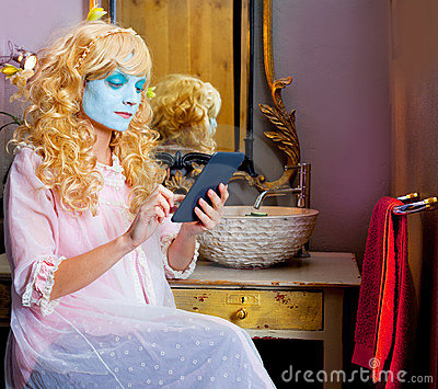 Humor woman in bathroom with ebook tablet
