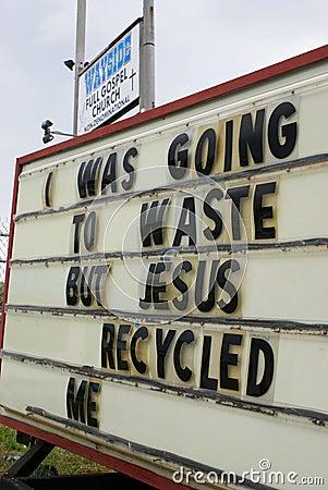 Humorous religious sign