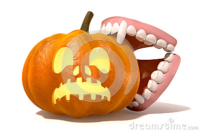 Vampire Teeth Biting Jack O Lantern