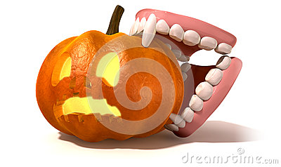 Vampire Teeth Biting Jack O Lantern