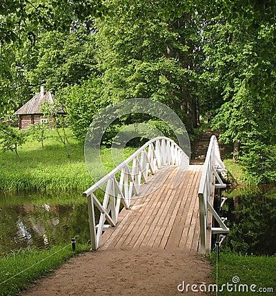 Humpback wooden bridge in the park
