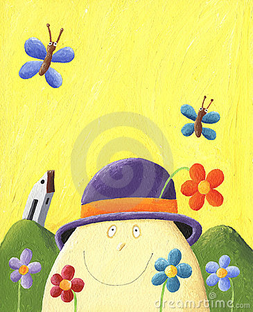 Humpty Dumpty with flowers