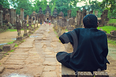 Hunchback quardian from Banteay Srey temple Editorial Photo