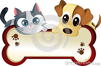 Hund und Katze mit Fahne