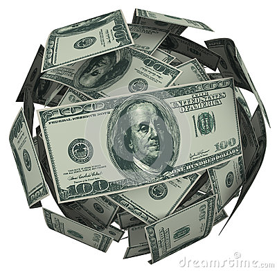 Hunded Dollar Bill Money Ball Cash Currency