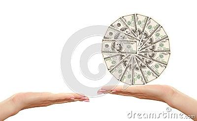 Hundert Dollar in der Hand
