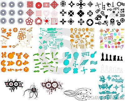 Hunderte der grafischen Elemente