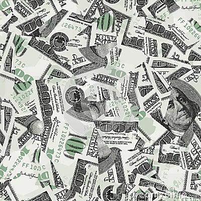 Hundred bills seamless vector wallpaper
