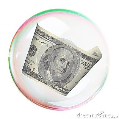 Hundred dollar bill  into bubble