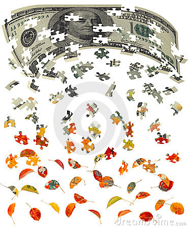 Hundred dollar bill converting to autumn leaves