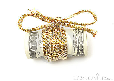 Hundred dollar bill with cord