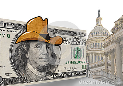 Hundred dollar bill in cowboy hat