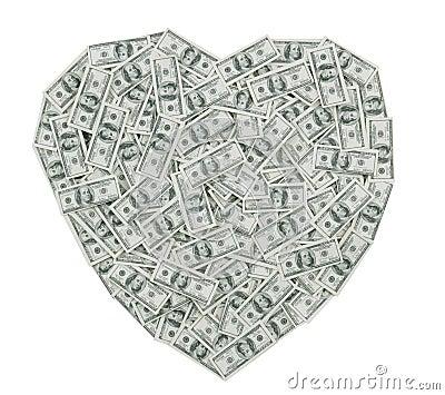 Hundred Dollar Bill Heart