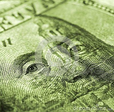 Hundred dollar bill macro shot