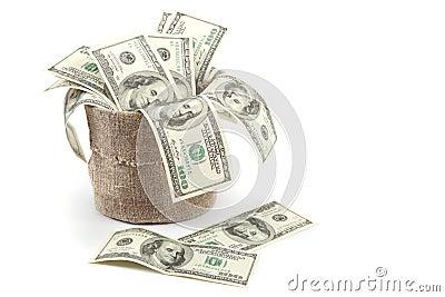 Hundred dollar bills in a canvas sack.